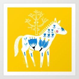 Folk horse on yellow Art Print
