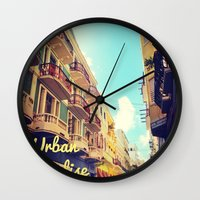puerto rico Wall Clocks featuring Colorful Puerto Rico  by Forgotten Charm