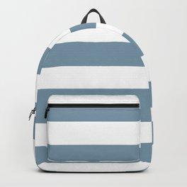 Weldon Blue - solid color - white stripes pattern Backpack