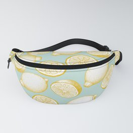 Lemons On Turquoise Background Fanny Pack