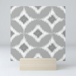 Elegant White Gray Retro Circles Squares Ikat Pattern Mini Art Print