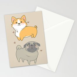 Corgi and pug Stationery Cards