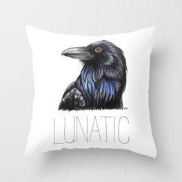 Raven Lunatic Throw Pillow