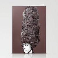 erykah badu Stationery Cards featuring Erykah Badu by Simone Rohler Art