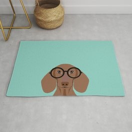 Remy - Daschund with Fashion glasses, hipster glasses, hipster dog, doxie,  Rug