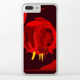 Abstract cartoon red cave tunnel, view inside hot volcano. Clear iPhone Case