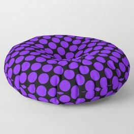 Purple Polka Dots on Black Floor Pillow