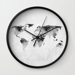 World Map - Hammered Metallic Monochrome Wall Clock
