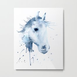 Watercolor Horse Portrait Abstract Paint Splatter Metal Print