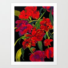 Inky Tulips Black Art Print