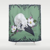 crow Shower Curtains featuring crow by Sarah K. Fowler