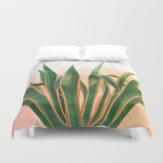 Cactus with geometric Duvet Cover