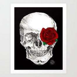 Rose Skull Black Art Print