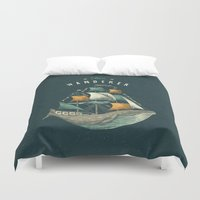 orange Duvet Covers featuring Whale | Petrol Grey by Seaside Spirit