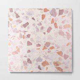 Vintage coral pastel pink white elegant marble Metal Print