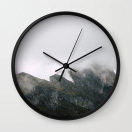 Foggy Seceda mountain in Italy Wall Clock
