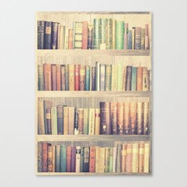 Dream with Books - Love of Reading Bookshelf Collage Canvas Print