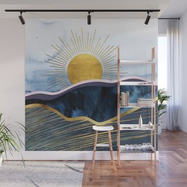 Blue Hills - Abstract Landscape With Golden Sun Wall Mural