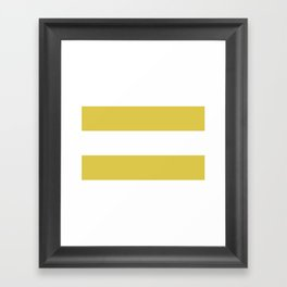 MUSTARD & WHITE STRIPE Framed Art Print