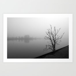 Wesley Lake In fog Art Print