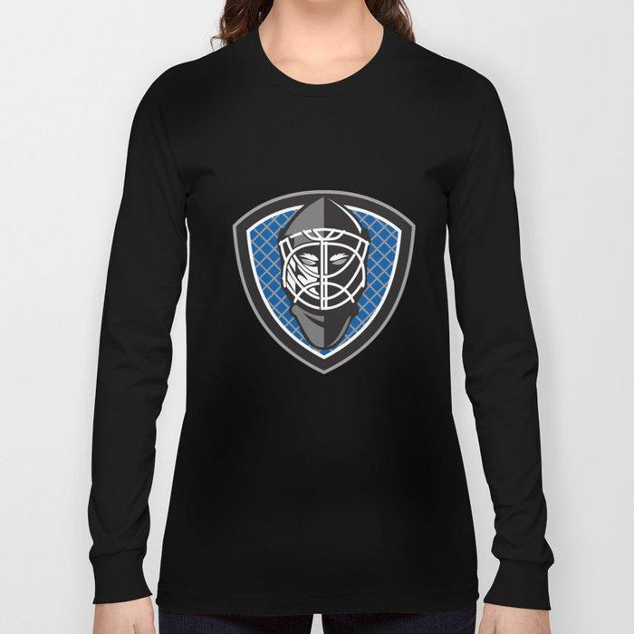 c5e66afc228 Ice Hockey Goalie Helmet Crest Retro Long Sleeve T-shirt by ...