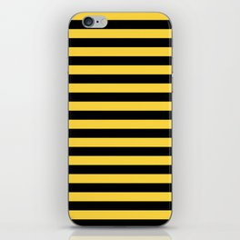 Even Horizontal Stripes, Yellow and Black, M iPhone Skin