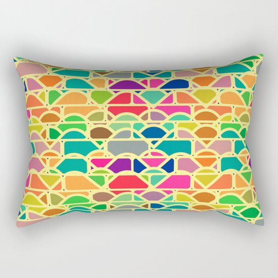 Bricks and waves in bright colors Rectangular Pillow