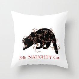 Feliz NAUGHTY Cat Throw Pillow