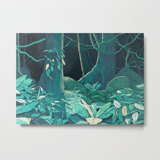 Forest at Night Metal Print