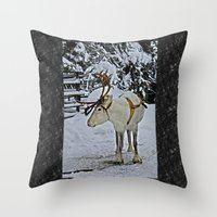 finland Throw Pillows featuring Reindeer in Lapland Finland by Guna Andersone & Mario Raats - G&M Studi
