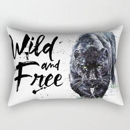 Panther watercolor painting predator animals puma jaguar wild & fre Rectangular Pillow