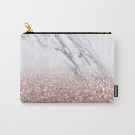 Rose Gold Glitter Marble Carry-All Pouch