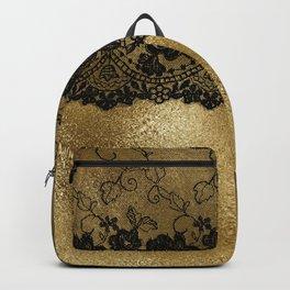 Black luxury lace on gold glitter effect metal- Elegant design Backpack