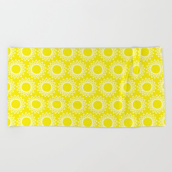 Sun Yellow Pattern- Beach Sun - Mix and Match with Simplicity of Life Beach Towel