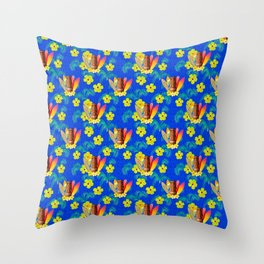 Surfboards And Tiki Mask Pattern Throw Pillow