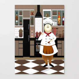 Funny Chef in a Big Hat in the Kitchen Canvas Print