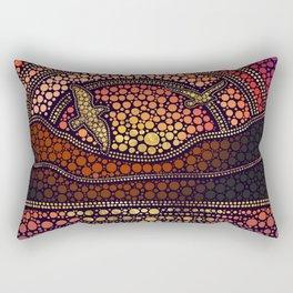 Dot Art Sea Sunset Landscape and birds Rectangular Pillow
