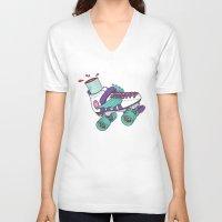 roller derby V-neck T-shirts featuring Roller Derby Motherf***er by Kiwii Illustration