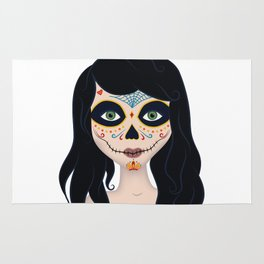 Day of the Dead Girl Illustration Rug
