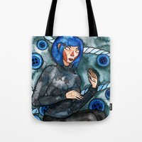 coraline Tote Bags featuring Coraline by Jazmine Phillips