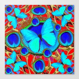 Red Fantasy Turquoise Butterflies Peacock Pattern Eyes Art Canvas Print