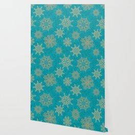 Winter Pattern (turquoise/golden) Wallpaper