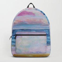 Blush pink abstract nautical Ocean art, Blue sunset beach Backpack