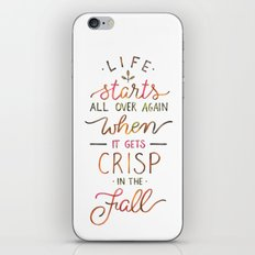 Crisp in the Fall - The Great Gatsby quote iPhone & iPod Skin