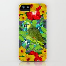 RED-YELLOW HIBISCUS & GREEN PARROT JUNGLE GRAY  ART n iPhone Case