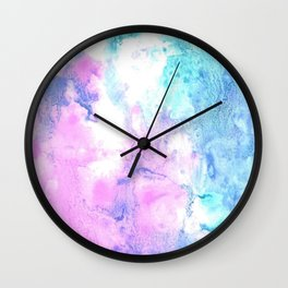 Cotton Candy watercolor abstract Wall Clock