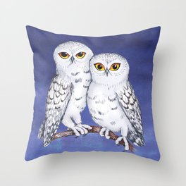 Two lovely snowy owls Throw Pillow