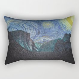 Vincent Van Gogh's Starry Night Over Yosemite National Park Rectangular Pillow