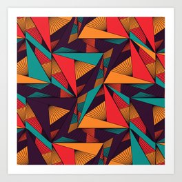 Hexagonal Lines and Triangles Art Print