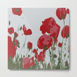 Poppy Field Of Remembrance Vector Metal Print